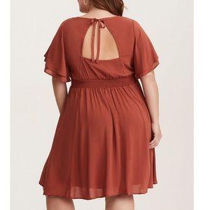 torrid Dresses - TORRID RUST CHALLIS LACE INSET DRESS
